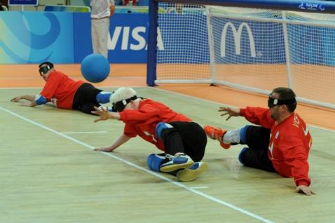 Partido de la selección española de goalball. Fuente: AD