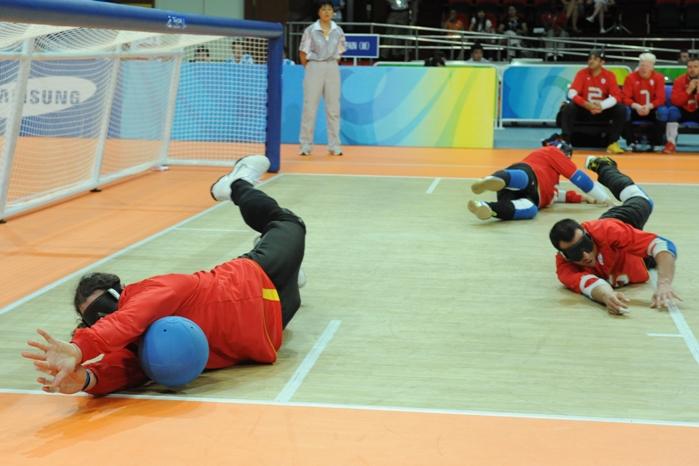 Encuentro de la selección española de goalball. Fuente: AD