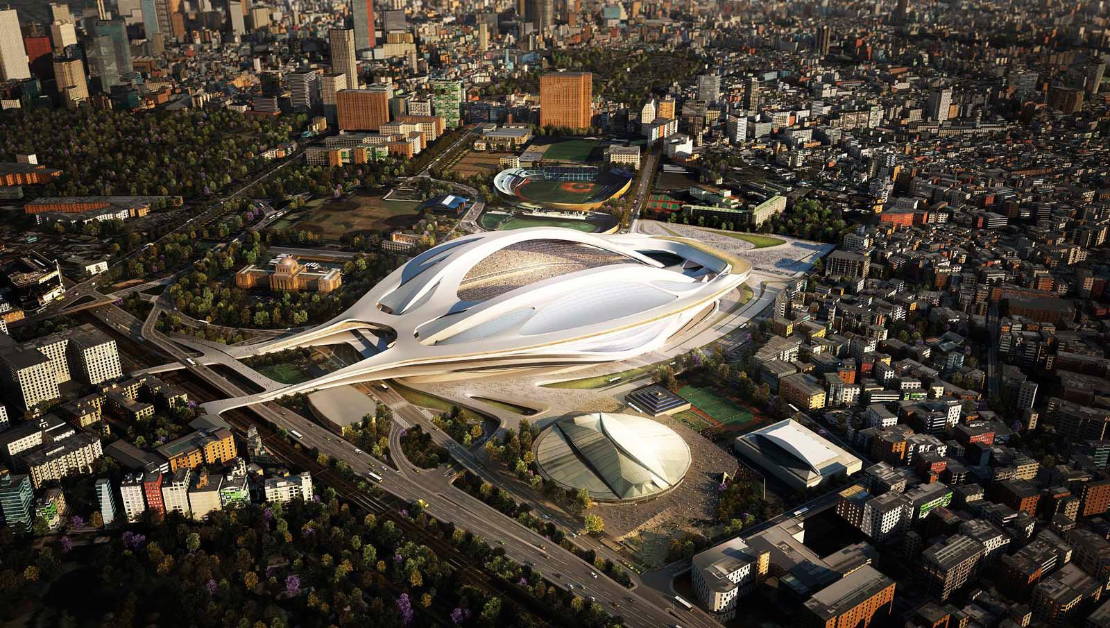 Diseño de Zaha Hadid Architects de Gran Bretaña para el nuevo Estadio Nacional de Tokio, el cual se utilizará como la sede principal de los Juegos Olímpicos de 2020. Fuente: AD