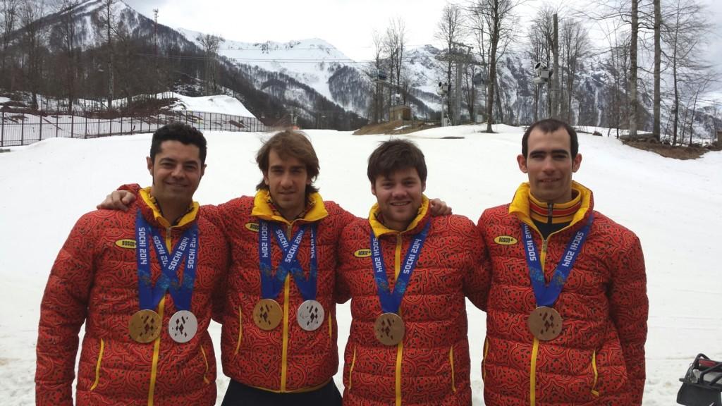 Miguel Galindo, Jon Santacana, Arnau Ferrer y Gabriel Gorce esqui paralímpico alpino sochi