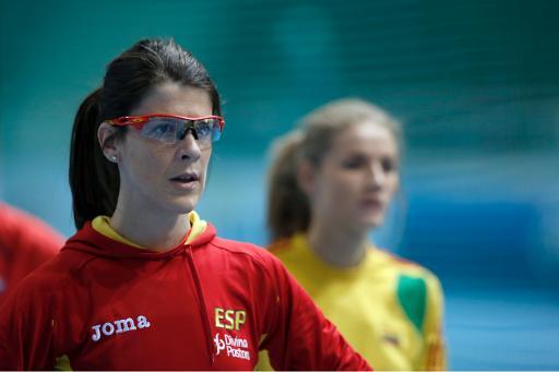 Ruth Beitia durante el calentamiento de la prueba clasificatoria para la final de Sopot. Fuente: AFP, Janek Skarzinski.
