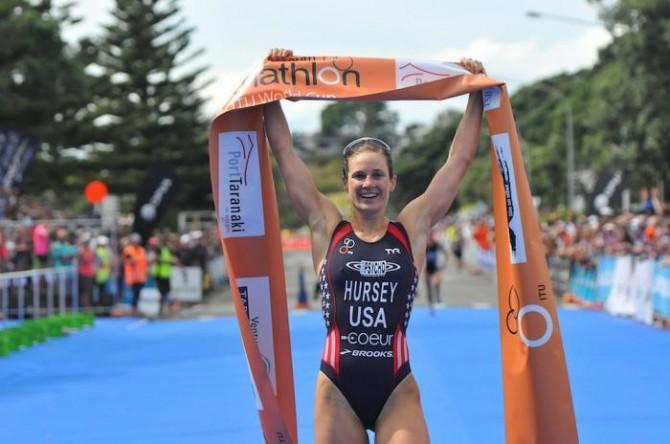 La triatleta de EEUU Katie Hursey tras ganar en New Plymouth. Fuente: AD