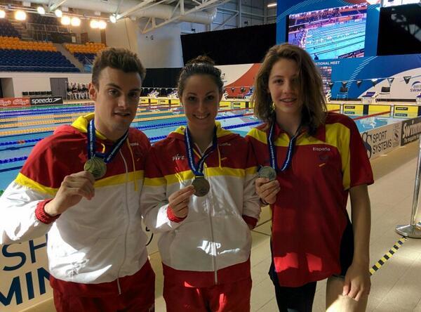 open británico de natacion adaptada José Antonio Marí, Sarai Gascón y Nuria Marqués. Fuente: AD
