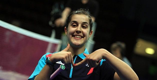 La jugadora e bádminton Carolina Marín celebra su pase a la final del Europeo. Fuente: FESBA / ©Mark Phelan