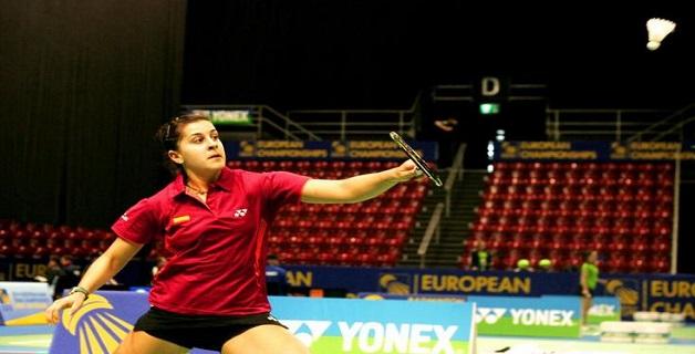 La onubense Carolina Marin durante un partido. Fuente: Federación Española de Badminton