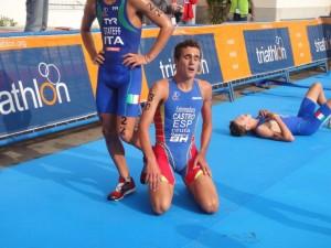 El triatleta David Castro durante una competición.