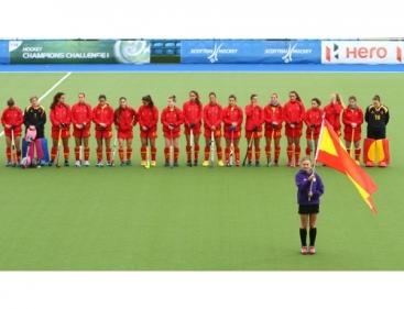 La selección española de hockey hierba en Glasgow. Fuente: RFEH