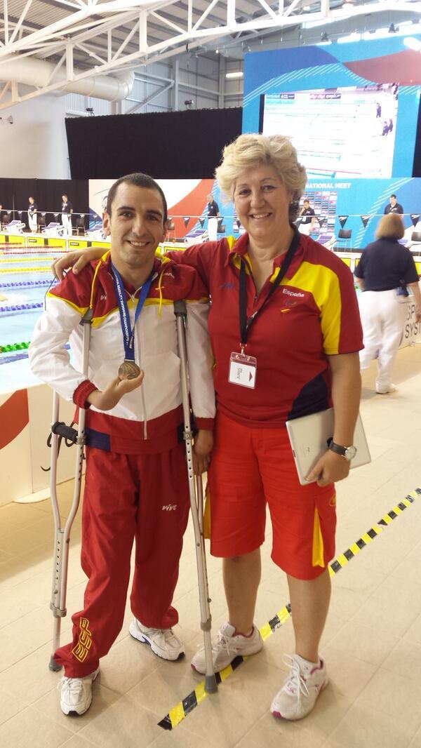 Miguel Ángel Martínez Tajuelo y su entrenadora, Esperanza Jaqueti. Fuente: AD