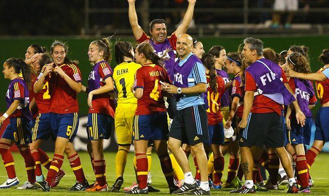 España celebrando su pase a la final. Fuente: RFEF