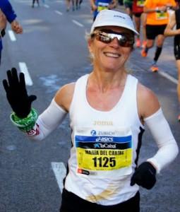 La atleta durante una maratón.