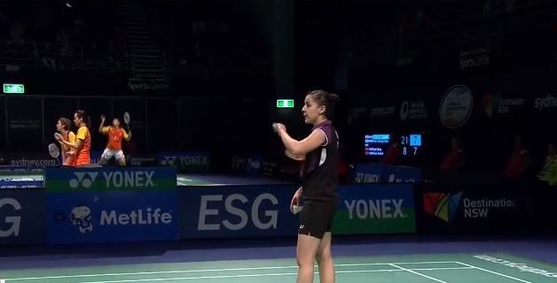 Carolina Marín durante el campeonato en Australia. Fuente: badminton.es