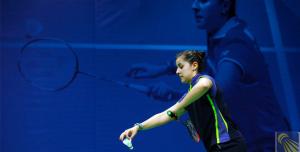 Carolina Marín durante un partido. Fuente: badminton.es