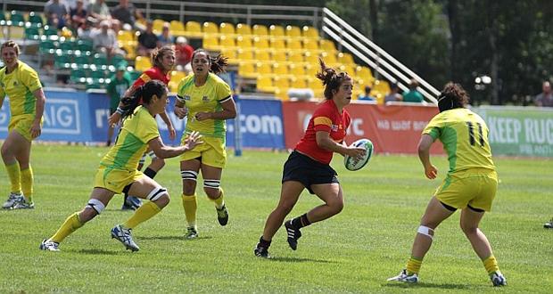 La pateadora del Seven femenino español, Patricia García, durante un partido. Fuente: IRB