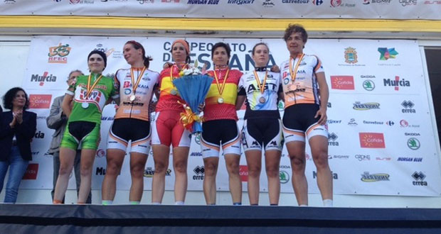 El podio en la prueba de fondo de carretera del campeonato de España. Fuente: RFEC