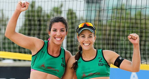 Las jugadoras de voley playa Paula Soria y Ángela Lobato. Fuente: AD