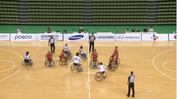 España frente a Japón en el primer partido del Mundial de Baloncesto en Silla de Ruedas de Corea. Fuente: AD