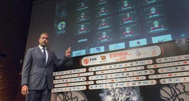 Juan Orenga presenta a los 12 jugadores que irán al Mundial de baloncesto. Fuente: FEB