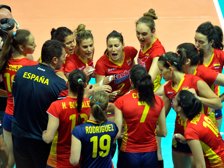La selección española femenina de voleibol en la Liga Europea. Fuente: RFEVB