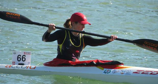 La palista española Silvia Elvira durante un entrenamiento. Fuente: AD