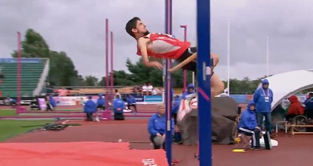 El atleta leonés Daniel Pérez en la prueba de salto de altura. Fuente: Comité Paralímpico Español