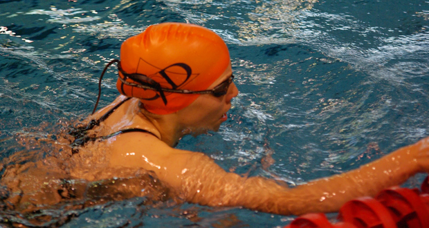 La nadadora Jimena Pérez Blanco durante una competición. Fuente: AD