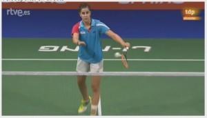 Carolina Marín durante los cuartos de final. Fuente: Captura RTVE