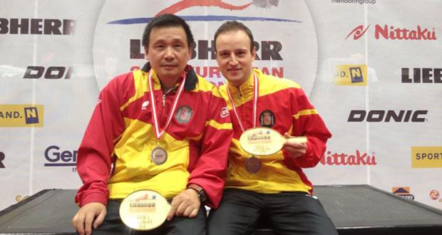 Juanito y Carlos Machado tras ganar el bronce en el pasado Europeo. Fuente: RFETM