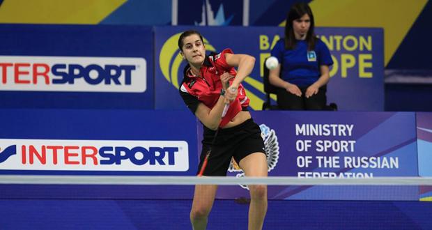 La onubense Carolina Marín durante el Europeo  que conquistó en abril. Fuente: AD