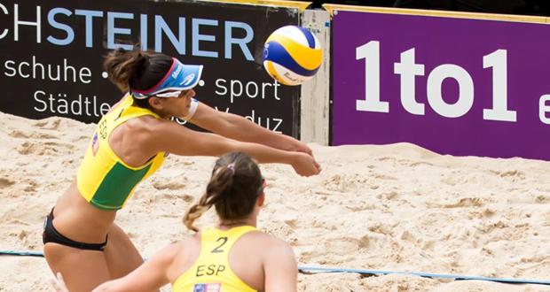 Ester Ribera y Amaranta Fernández en el torneo de vóley playa en Vaduz. Fuente: AD