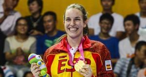 Lucía Togores con su oro. Fuente: COE