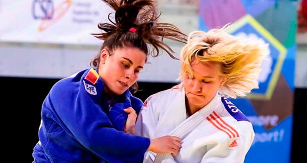 La judoka asturiana Sara Rodríguez durante un combate. Fuente: AD