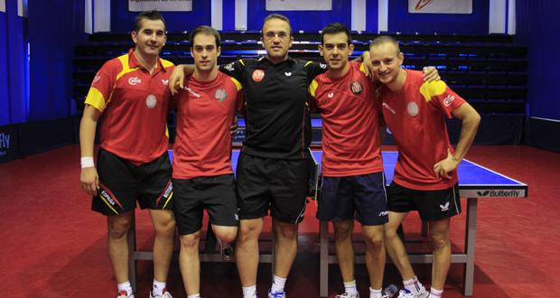 Parte del equipo masculino español de tenis de mesa. Fuente: RFETM