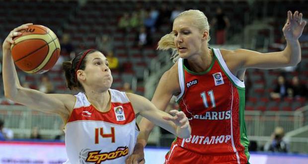 La jugadora Anna Cruz en un partido con la selección española de baloncesto. Fuente: FEB