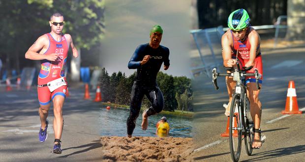 El triatleta almeriense Jairo Ruiz en cada una de las disciplinas de este deporte. Fuente: AD
