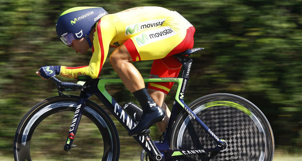 El ciclista español Jonathan Castroviejo durante la crono del Mundial en Ponferrada. Fuente: RFEC