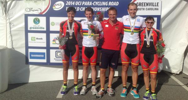 Los tándems Benítez-Masdeu y González-Martín en el Mundial de ciclismo paralímpico. Fuente: RFEC