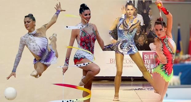 La leonesa Carolina Rodríguez en cada uno de los aparatos de la gimnasia rítmica. Fuente: AD