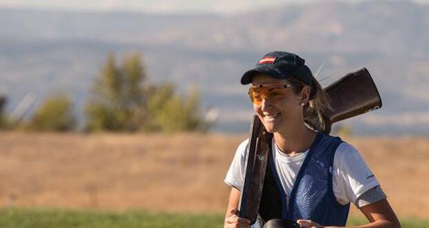La tiradora de foso olímpico Fátima Gálvez durante el Mundial en Las Gabias. Fuente:  Maria Mentxaka