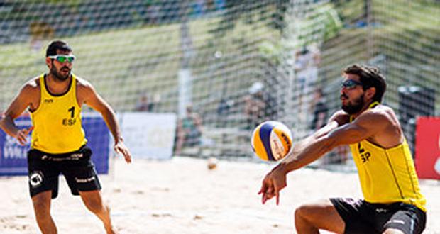 La pareja española Marco-García en el Grand Slam de Sao Paulo. Fuente: RFEVB