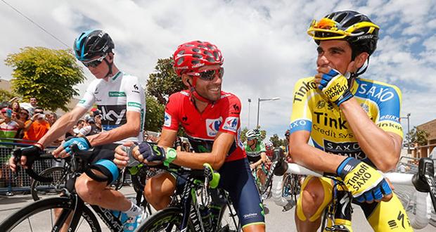 Alejandro Valverde junto a Alberto Contador en la Vuelta Ciclista a España 2014. Fuente: Movistar