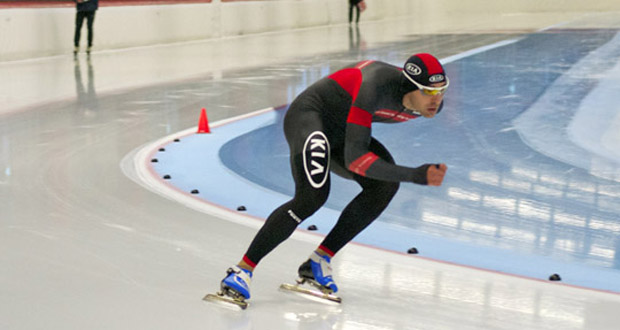 El patinador español Íñigo Vidondo en la pista de Inzell. Fuente: Fedhielo