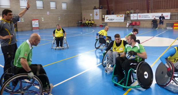 Partido de rugby en silla que disputaron Madrid (Los Toros) y Cataluña (Quadrigas). Fuente: AD