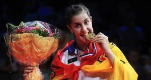 Carolina con el oro Mundial. Fuente: badminton.es