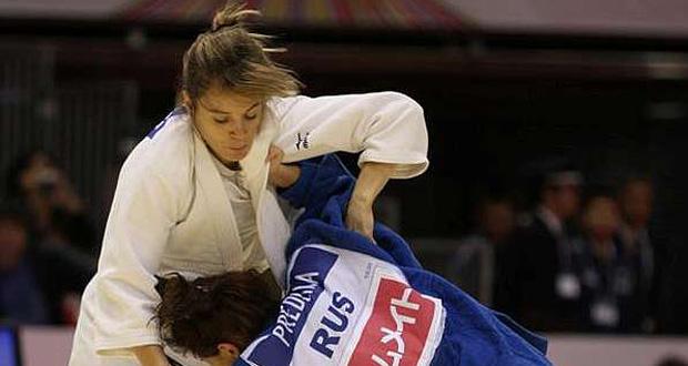 La judoka valenciana Laura Gómez durante un combate. Fuente: AD