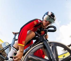 Tania Calvo en el velódromo. Fuente: Cyclephotos
