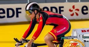 La velocista Tania Calvo durante el Europeo en pista. Fuente: Cyclephotos