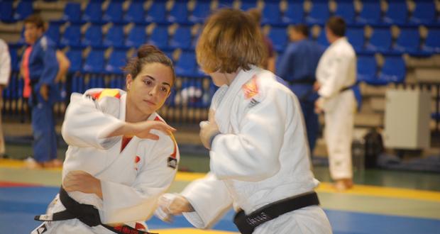 La judoca Julia Figueroa durante un entrenamiento en Málaga. Fuente: Laura Pérez