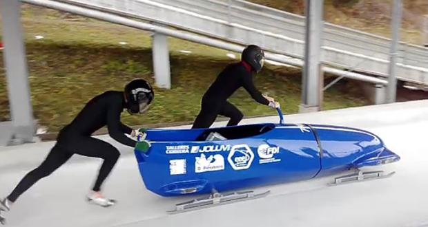 La pareja española de bobsleigh, Pablo Bouzán y Héctor Abelleira en Igls (Austria). Fuente: Spanish Bobsleigh