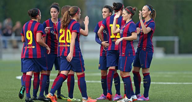 Las jugadoras del Barcelona celebran un gol. Fuente: Miguel Ruiz - FCB