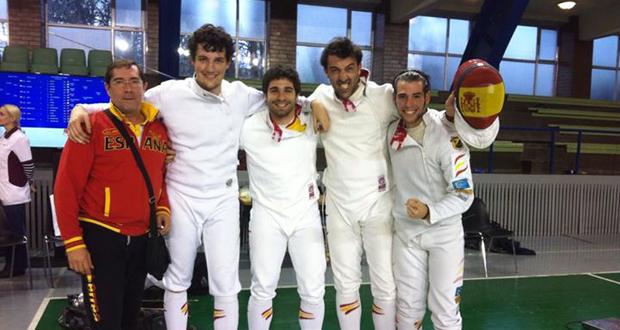 Pau Roselló, Miguel Moratilla, José Luis Abajo y Elías Casado tras la Copa del Mundo en Estonia.